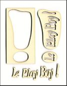 Embellissement Scrap Exclamation Le Play Boy, en Carton bois